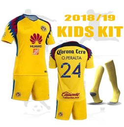 Wholesale America Mexico - TOP Quality 2018 2019 Mexico Club America kids kit Soccer Jersey set second Away 18 19 C.BLANCO D.BENEDETTO R.SAMBUEZA Football kits + socks