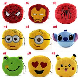 Wholesale Hot New Selling Toy - 2018 New Hot sell Stuffed Animals expression Coin Purses Zero wallet cute emoji coin bag plush pendant High quality