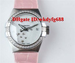 Wholesale oe auto - OE factory CONSTELLATION Ladies watch 8520 special Automatic Diamond Brzel SUS316L steel Sapphire Crystal Pink alligator leather strap