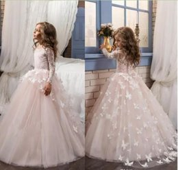 Wholesale Little Girl Tulle Dresses - 2018 Blush Lace Long Sleeves Ball Gown Flower Girls Dresses Full Butterfly Kids Pageant Gowns Little Girl Birthday Party Communion Dresses