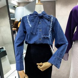 Wholesale Ladies Denim Shirt Xl - Restro Solid Patchwork Bow Lace Up Female Blouses New Spring Wild Long Sleeve Shirt for Ladies Stand Collar Loose Women's Shirts