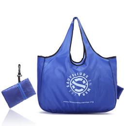 2019 koreanische stickentasche faltbare Einkaufen Tragetaschen Werbe Supermarkt Einkaufstaschen für individuelle Blue Letter Printed Bag