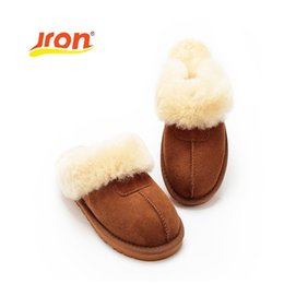 Wholesale used leather shoes - Jron 9 Color Sheepskin Genuine Wool Winter Slippers Women Plush Home Shoes Fur Warm Comfort Indoor House Use Slippers Large Size