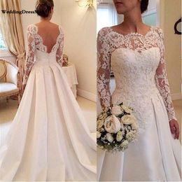2019 vestidos de cetim cor champanhe 2019 vestidos de noiva de manga comprida A linha Sheer decote sem costas Lace e cetim nupcial vestidos de casamento
