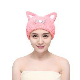 Kawaii orelhas de gato cap secagem de cabelo moda touca de banho grils  pelúcia chapéu de cabelo seco rosa e azul 3777e03284f