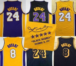 Wholesale Mixed Basketball Jersey - 2018 New Kobe Bryant Jersey Men City version Throwback 8 24 33 Bryant black mamba Jerseys Swingman 100% Stitched Jerseys College mixed Order