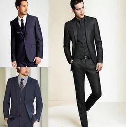 Vestidos formados de azul royal para homens on-line-Novos Smoking Formais Ternos Homens Terno De Casamento Ajuste Fino Terno de Noivo Negócios Set Ternos de Vestido Smoking Para Homens (Jacket + Calças)