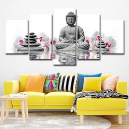 Orchideen blumen gemälde online-Leinwand Gemälde Home Decor 5 Stück Stein Statue von Buddha Bilder White Moth Orchid Flowers Poster Wandkunst Rahmen