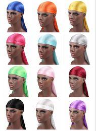 Argentina 2018 Nuevos hombres de la moda de satén Durags Bandana Turban pelucas hombres sedoso Durag Headwear diadema pirata sombrero accesorios para el cabello Suministro