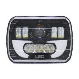 """filtro rei Desconto Par 7X6 polegadas LED Faróis H4 Luz Para Jeep Wrangler YJ Cherokee Comanche 5x7 """"Led Faróis Quadrados Com DRL"""