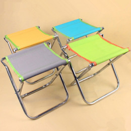 Wholesale wholesale foldable chair - Household Foldable Stools Space Saving Metal Tube Chair Multi Colors Resuable Fishing Chairs Eco Friendly 4 5kj B