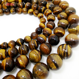 "Wholesale loose tiger eye beads - Hot Sale Natural Stone Beads Yellow Tiger Eye Beads For Jewelry Making 15"" Size: 4 6 8 10 12 14mm loose beads"