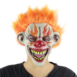 máscaras de payaso espeluznantes Rebajas Máscara de Halloween Máscara horrible Máscara espeluznante Aterrorizada Toothy Yellow Clown Clown Mask Demon Adult Scary Clown Masks Props