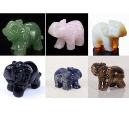 Pedra verde opala on-line-Natural 2 polegada Opala, Elefante aventurina Verde pedra esculpida Artesanato Estatueta Feng Shui cura reiki Chakra Cristal livre bolsa de Flanela