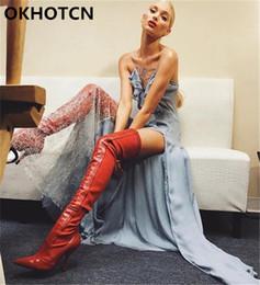 2019 style de célébrités Célébrité Style Tissu Stretch et Cuir Botas Bout Pointu Toe Sock Bottes Noir Rouge Sexy Booties Stiletto Talons Hauts Chaussures Femme style de célébrités pas cher