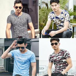 Wholesale Tshirts Slim Sleeve Mens - 25styles Summer Mens t shirt tshirts T-Shirts 2018 New Camo 93.2(%)cotton short Sleeve Slim Casual Men Tops crew neck