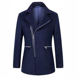 825810c9b42 Men s Clothing Woolen Blend Trench Coat Men Fashion Slim Windbreaker Jackets  Mens Navy Blue Casual Overcoat