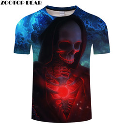 Feather Skull 3D Print T-Shirt Men Short Sleeve O-Neck Tops Black T-Shirt