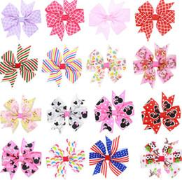 rose hairband Promotion 8.5cm enfants bande dessinée imprimé ruban gros-grain Hirondelle queue arcs avec clip