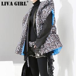 Argentina LIVA GIRL 2018 Nuevo Otoño Invierno Con Capucha Sin Mangas Azul Leopardo Impreso Flojo de Gran Tamaño de Algodón acolchado Chaleco Moda Mujer cheap winter leopard vest girls Suministro