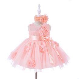 Vestido de princesa de 12 meses online-Ornamento de la flor de la manera Vestidos de las muchachas del bebé con la venda para el niño del niño Edad 3 6 12 18 24 30 meses Ropa de la princesa recién nacida