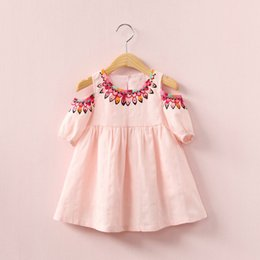 Wholesale Custom Print Canvas - 2018 New baby girls folk-custom Flower dress summer cotton Children printing Strapless dresses Kids ClothingFree shipping