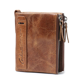 Wholesale horse clutch - Genuine Crazy Horse Cowhide Leather Men Double zipper Wallet Vintage Purse Short Retro Designer Clutch Fastener Bag Card Holder