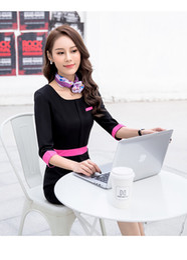 Wholesale Beauty Salon Wear - Professional Women's Dress Fashion Spring And Summer Thin Short Sleeves Flight Attendants OL Hotel Jewelry Shop Beauty Salon Pure Color Work