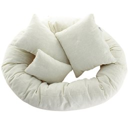 Wholesale Pillow Fillers - Wholesale- 4pcs set Cute Photography Basket Filler Anti-Static Wheat Donut Posing Props Pillow Fotografia Accessories