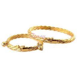 messing manschette armband leer Rabatt 6mm Frauen Mutter Babys Kinder Gold Gefüllt Farbe Draht Armreifen Armbänder Öffnende Armband Seil Schmuck