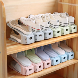plastic shoeboxes Promo Codes - New Shoes Racks Plastic Double Shoe Holder Storage Shoes Rack Living Room Convenient Shoebox Shoes Organizer Stand Shelf B