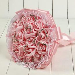 2019 bouquet di nozze viola rosa SOLO $ 20,99 Top Wedding Bouquet da sposa 2019 di alta qualità viola crema decorazione di nozze fiore damigella d'onore artificiale perline di cristallo CPA1595 bouquet di nozze viola rosa economici