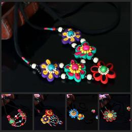 yunnan handmade Canada - Folk style yunnan lijiang long style sweater chain flower cloth art necklace female Chinese characteristics pure handmade gifts