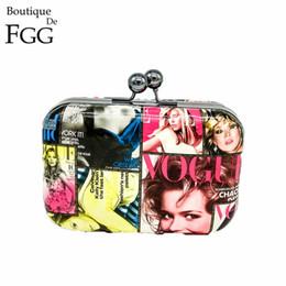 Wholesale Plain Magazine - American Style Magazine PU Cover Women Fashion Day Metal Clutches Bag Evening Clutch Party Prom Handbag Purse Chain Shoulder Bag