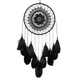 2019 décorations de plumes Handmade Lace Dream Catcher Circulaire Avec Des Plumes Suspendus Décoration Ornement Artisanat Cadeau Au Crochet Blanc Dreamcatcher Wind Chimes GA122 décorations de plumes pas cher