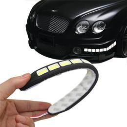 Dia de coche conducido corriendo online-Square 21cm Bendable led luz de circulación diurna 100% impermeable COB día luces flexibles LED coche DRL lámpara de conducción