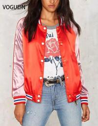 Giacche satinate online-VOGUE! N New Womens Ladies Fashion Tinta unita in raso di colore Giacca con bottoni automatici Taglia XS S M L