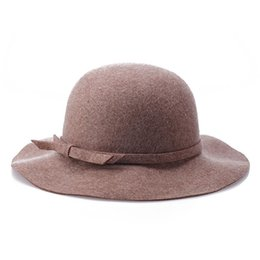 China 100% Wool Felt Wave Floppy Hat Lady Spring autumn winter hats  Beautiful ladies wide f5329430ab7a