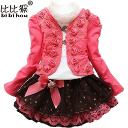 Wholesale Girl Rose Coat - Winter Girls Christmas Dress clothing set Kids shirt + rose Coat + Lace skirt children clothing girl new year costumes Clothes