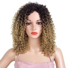 Wholesale Wavy White Cosplay Wig - Brow Medium Long Afro Wavy Wig Ombren Burgundy High Density Heat Resistant Synthetic Hair Wig For Black White Women Cosplay Party