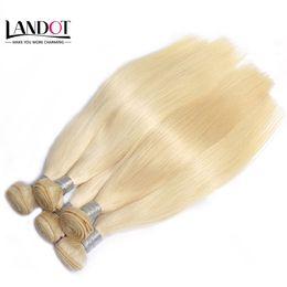 El mejor pelo virgen lacio online-El mejor 10A Bleach Blonde 613 Extensiones de cabello virgen Brasileño Peruano Indio Malasio Remy Recto El cabello humano teje 3/4 paquetes Color bien