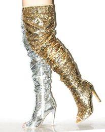2019 su stivali al ginocchio slim fit 2018 Stivali sexy con paillettes sopra il ginocchio Donna con punta a punta laterali Cerniera Glatiator Sandali Stivali Slim Fit Tacco sottile Bling Bling Stivaletti lunghi su stivali al ginocchio slim fit economici