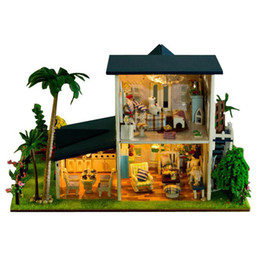 Wholesale home decoration furniture - Home Decoration Crafts DIY Doll House Wooden Dolls House 3D Miniature Model Kit dollhouse Furniture Room LED Light 13015