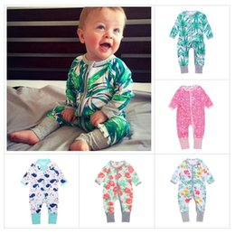 Wholesale Wholesale Long Sleeved Baby Rompers - INS Newborn baby rompers cotton long-sleeved overalls Boys Girls Autumn flower Zipper Romper Jumpsuits Infant climbing clothes