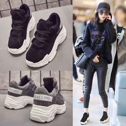 Wholesale Muffin Shoes - Super fire shoes casual shoes and cashmere winter children female Korean students all-match thick soled sports shoes Muffin