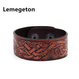 Wholesale Dragon Bracelet Women - whole saleLemegeton Vintage Chinese Dragon Knot Mens Leather Cuff Wristband Charm Women Bracelets Hidden Clasp Viking Jewelry for Gift