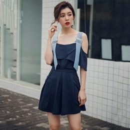 4410f840a7e Adjustable Straps Playsuits Horizontal Collar Jumpsuit Shorts Off Shoulder  Romper Women Wide-leg Streetwear Skirt-shorts Fashion