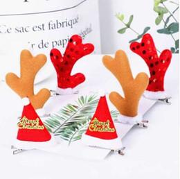 2019 cuernos de alce Pinzas para el cabello de Navidad Lindo sombrero de Santa Elk Horns Navidad Horquilla Accesorios para el cabello de Navidad rebajas cuernos de alce