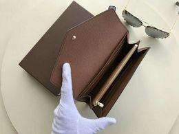 2019 foto della fattura del dollaro Famoso designer di design nuovo Sarah Portafoglio multicolore Damier Ebene Canvas lungo portafoglio titolare della carta portafoglio