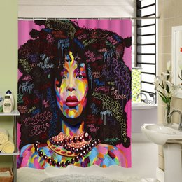 Занавески для душа онлайн-High Quality Different Custom Waterproof Bathroom African Woman Shower Curtain Polyester Fabric Bathroom Curtain